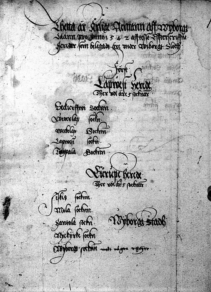 First page of one of the earliest bailiffs' accounts in Finland. Bailiwicks of Karelia, accounts of Vyborg province, 1542. Finnish National Archives